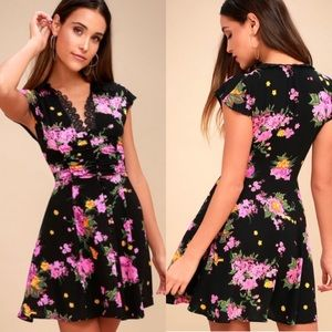 Free People Alora Black lace floral mini dress 0